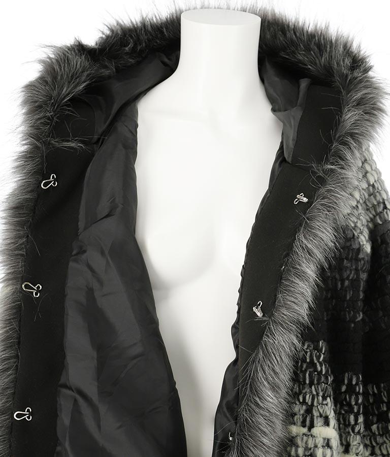 エコファー付グラデーションカラーフードウールコート(アウター(コート・ジャケット) /コート (トレンチコート・ロングコート) ) | Settimissimo
