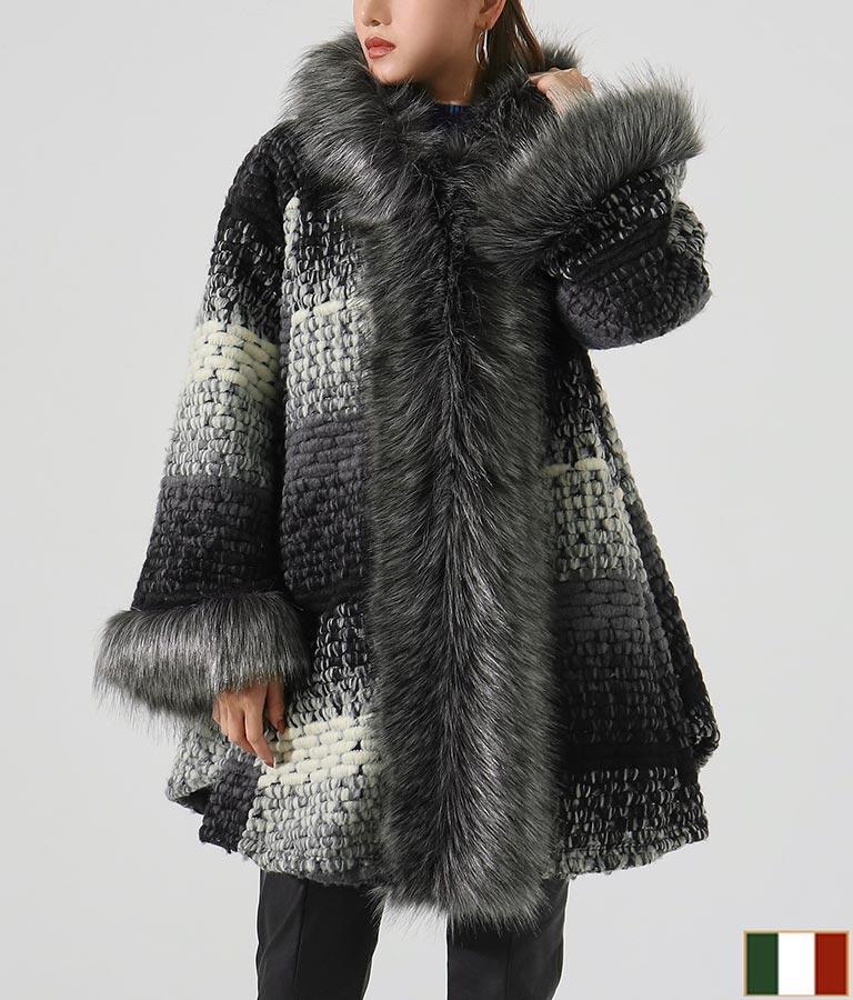 エコファー付グラデーションカラーフードウールコート