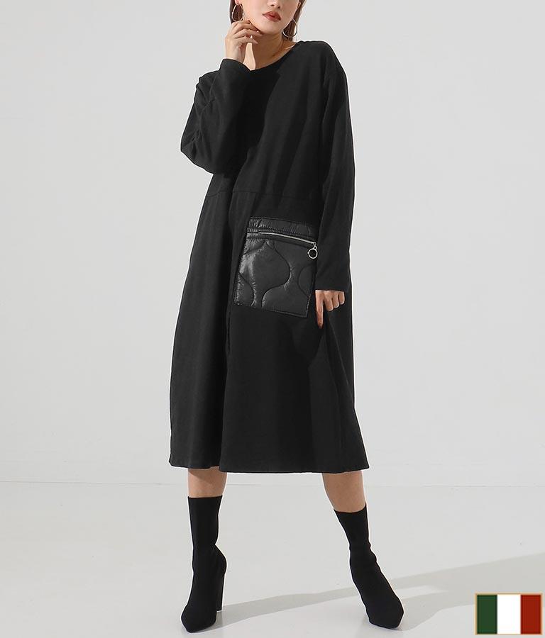 ジップ付ポケットデザイン裏起毛コットンロングワンピース(ワンピース・ドレス/ロングワンピ・ミディアムワンピ) | Settimissimo