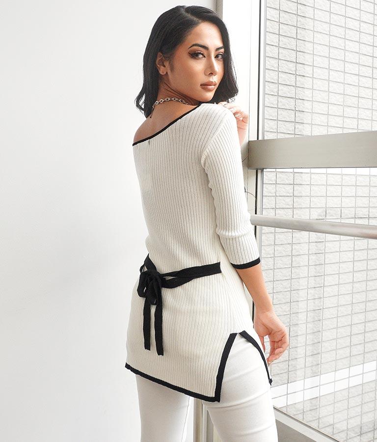 スクエアネックリボンデザイン7分袖トップス(トップス/カットソー ) | anap Latina