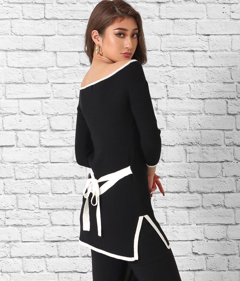 スクエアネックリボンデザイン7分袖トップス | anap Latina