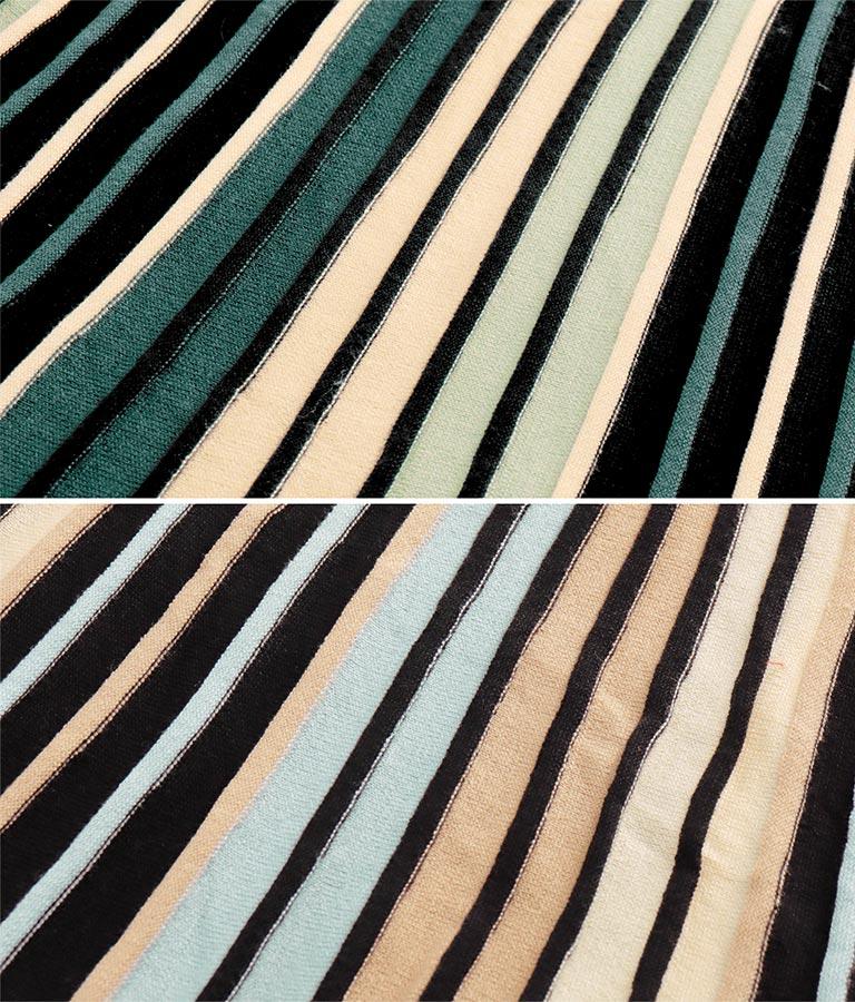 配色ニットプリーツスカート(ボトムス・パンツ /ニットスカート) | Alluge