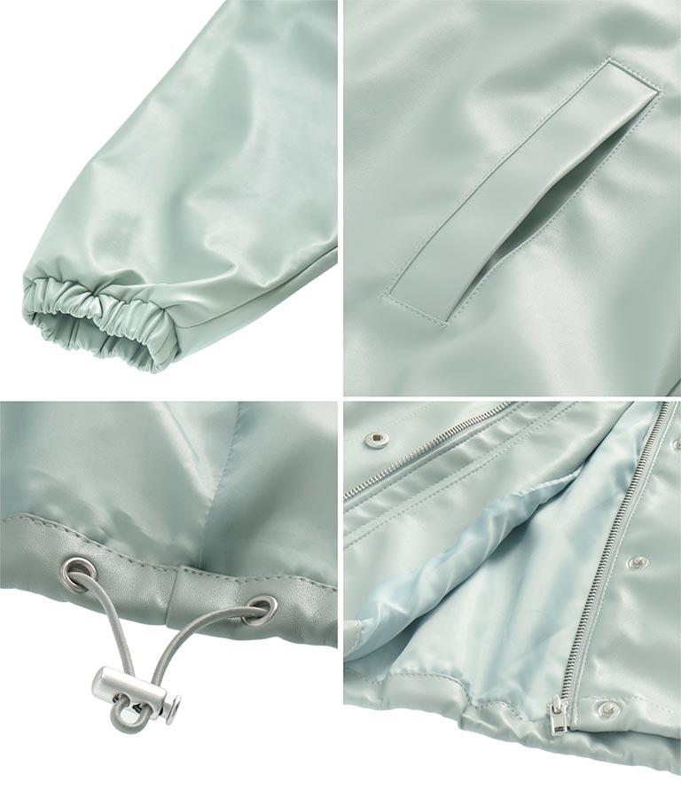 エコレザーフードジャケット(アウター(コート・ジャケット) /ジャケット・ブルゾン) | Alluge