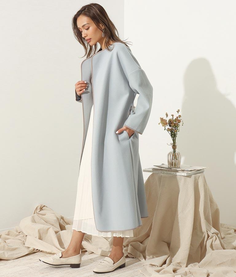 カットメルトン配色パイピングコート(アウター(コート・ジャケット) /コート (トレンチコート・ロングコート) ) | Alluge