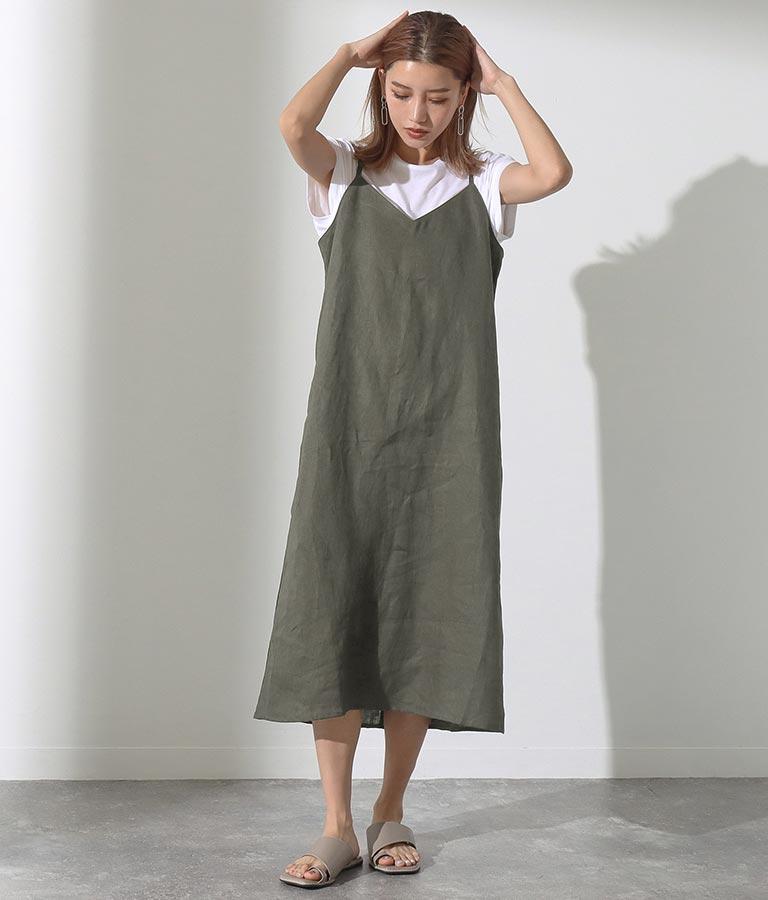 Tシャツ&フレンチリネンキャミソールワンピースアンサンブル(ワンピース・ドレス/ロングワンピ) | Alluge