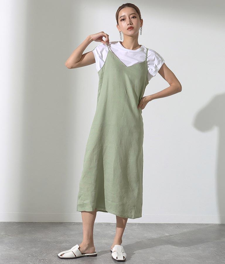 Tシャツ&フレンチリネンキャミソールワンピースアンサンブル