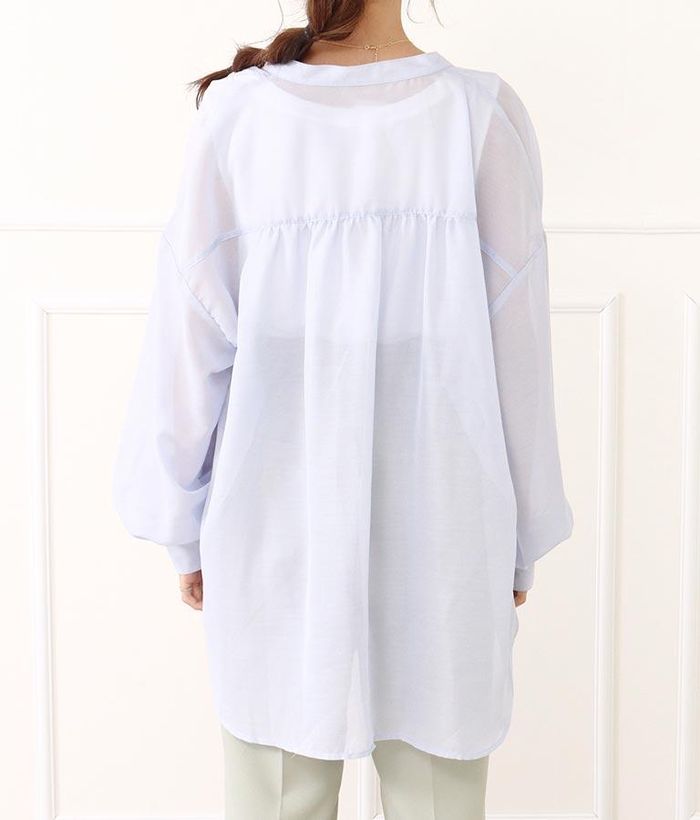 シアーボリュームスリーブスタンドカラーシャツ(トップス/シャツ・ブラウス) | CHILLE