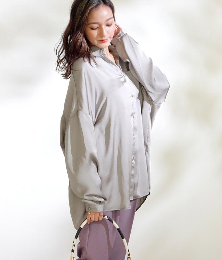 ヴィンテージサテンオーバーサイズシャツ(トップス/シャツ・ブラウス)   CHILLE