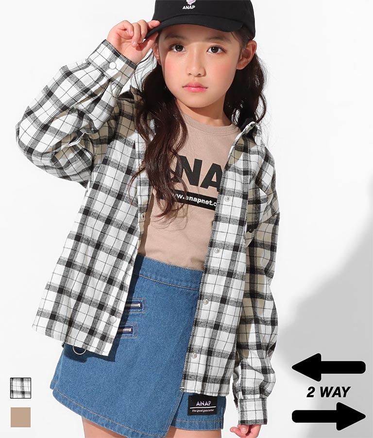 2WAYフード配色シャツ