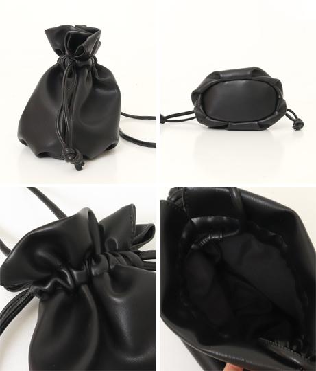 miniフェイクレザー巾着バッグ(バッグ・鞄・小物/ハンドバッグ・ショルダーバッグ) | Factor=