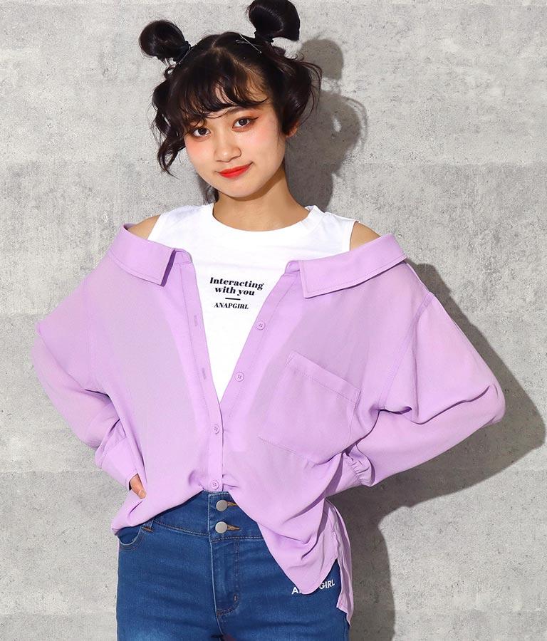 シフォン肩あきシャツトップス | ANAP GiRL
