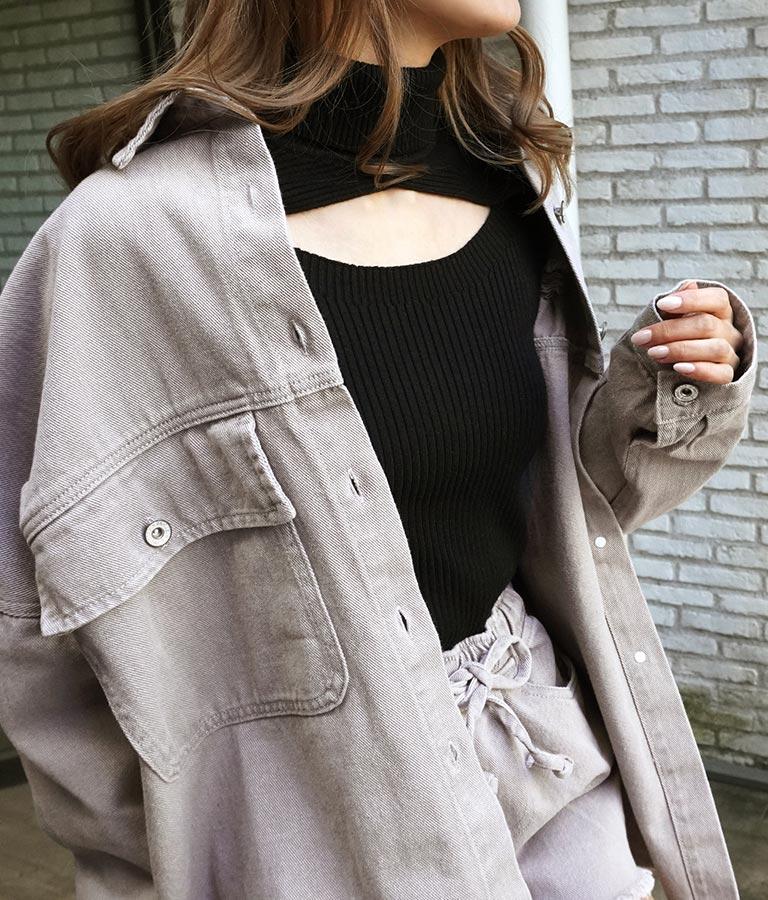 ダメージツイルオーバーシャツ(トップス/デニムシャツ・シャツ・ブラウス) | ANAP