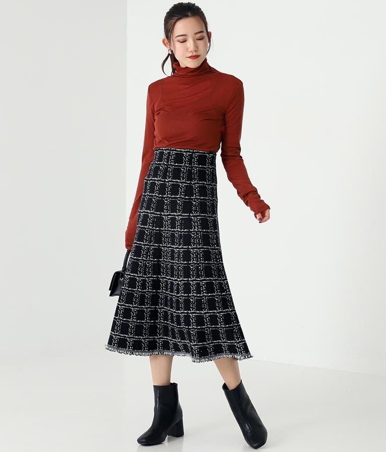 ツイード柄裾フリンジスカート(ボトムス・パンツ /スカート) | Alluge