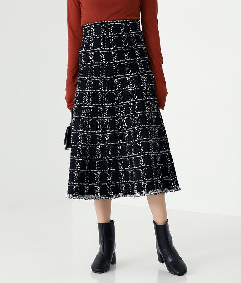 ツイード柄裾フリンジスカート
