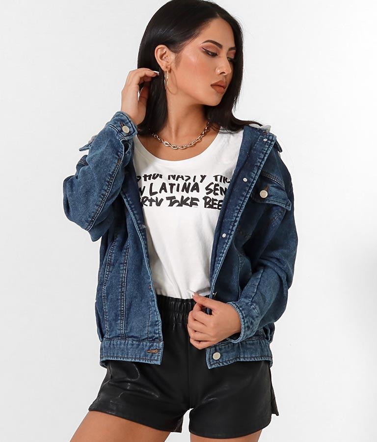 スウェットデニムフードビッグジャケット(アウター(コート・ジャケット) /ジャケット・ブルゾン) | anap Latina