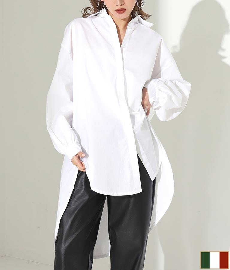 隠しボタンオーバーサイズバックロングデザインシャツ