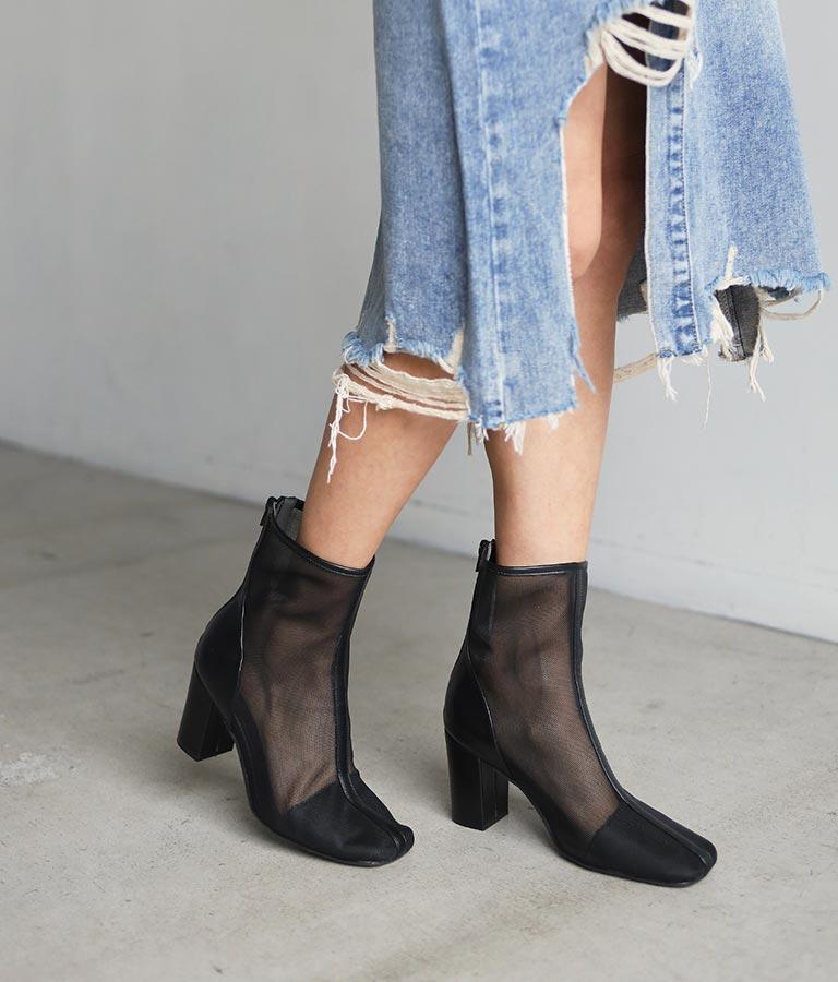 スクエアトゥーメッシュブーツ(シューズ・靴/ブーツ)   ANAP