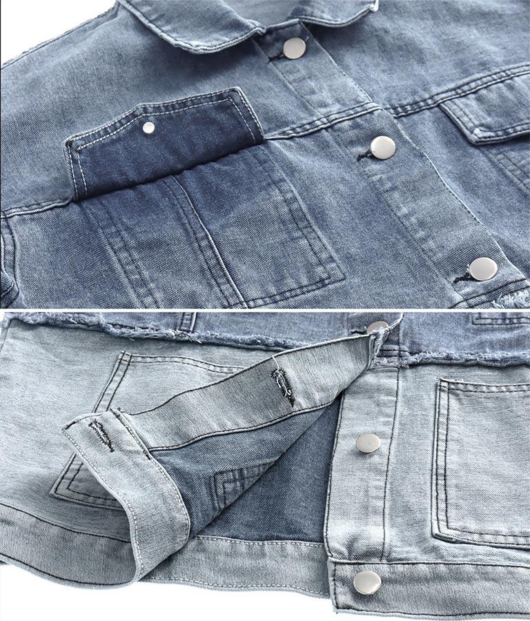 配色切替ダメージデニムジャケット(アウター(コート・ジャケット) /ジャケット・ブルゾン) | anap mimpi