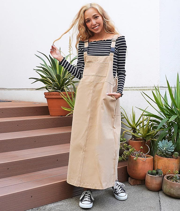 ツイルオーバーオールスカート