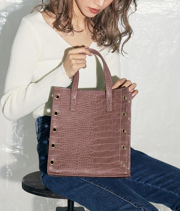 クロコ風ハトメバッグ(バッグ・鞄・小物/ハンドバッグ・ショルダーバッグ) | ANAP