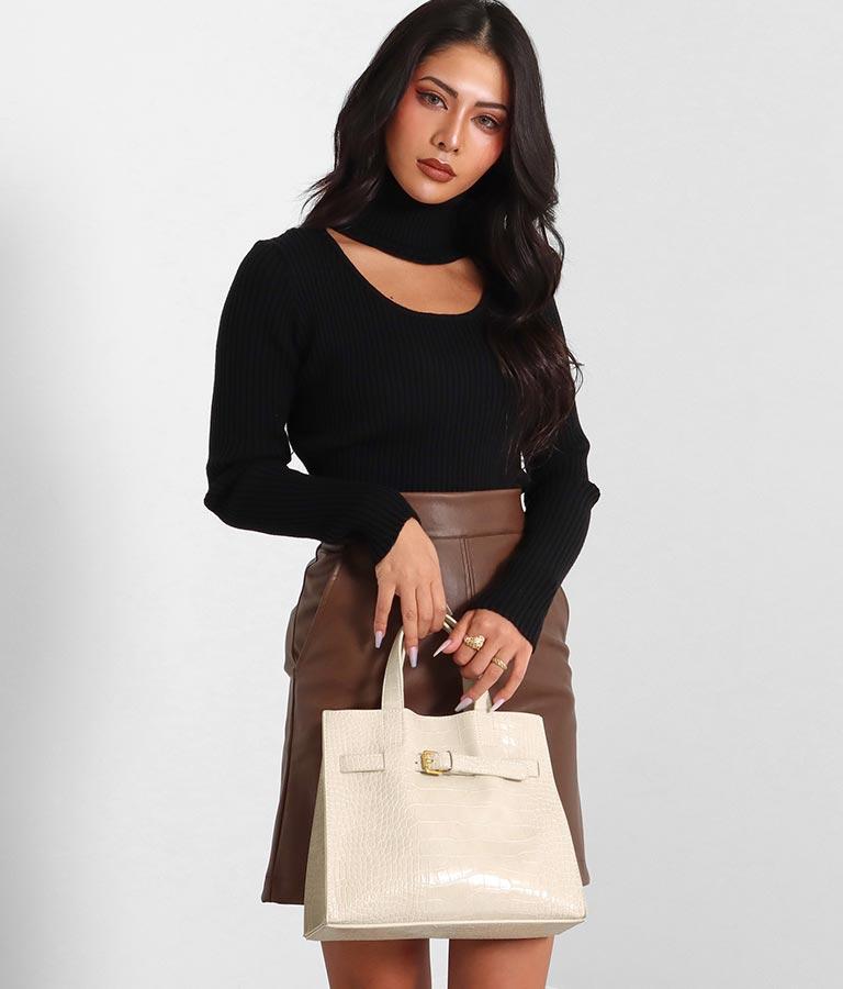 ベルトデザインクロコパターンスクエアバッグ(バッグ・鞄・小物/ハンドバッグ・ショルダーバッグ) | anap Latina