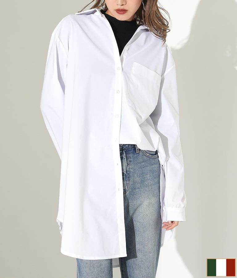 ワンポケットデザインロングシャツ