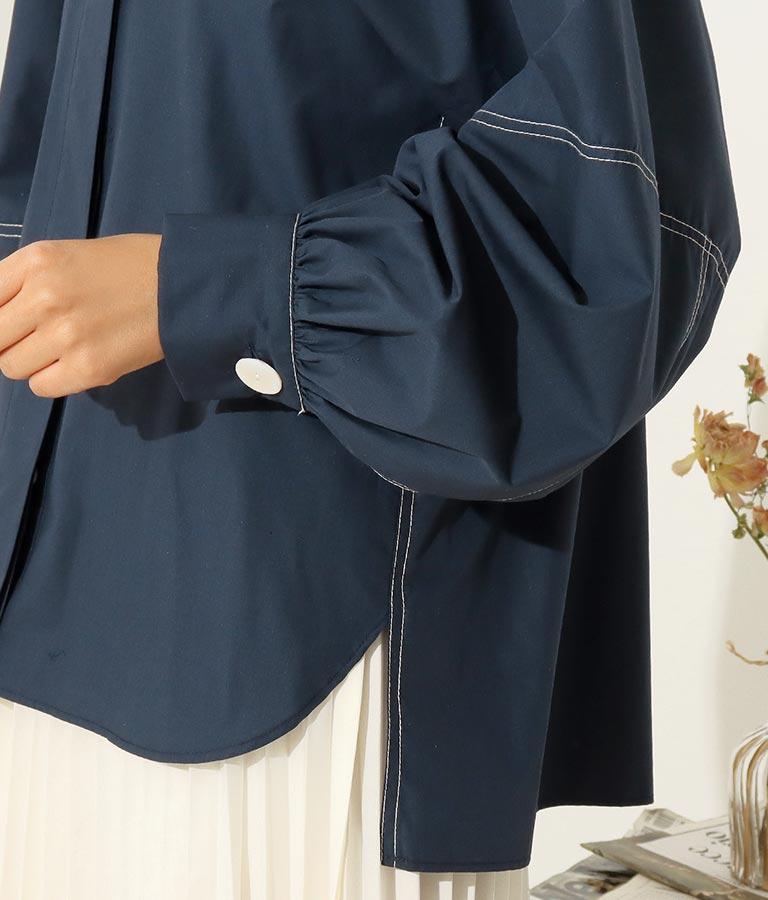 ステッチポイントボリューム袖ブラウス | Alluge
