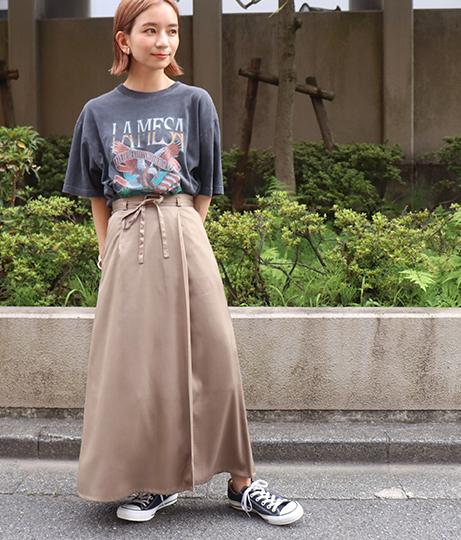 【低身長向けサイズ】サテンマキシラップスカート(ボトムス・パンツ /ミモレ丈スカート)   AULI