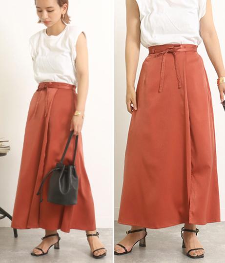 【低身長向けサイズ】サテンマキシラップスカート