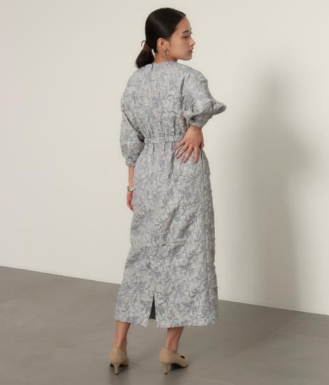 【低身長向けサイズ】ふくれジャガードウエスト切替ワンピース(ワンピース・ドレス/ミディアムワンピ)   AULI