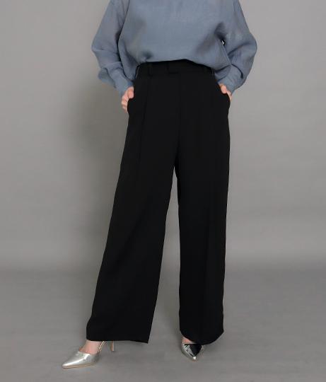 【裾上げ無料サービス対象商品】【低身長向けサイズ】センタープレスワイドタックパンツ