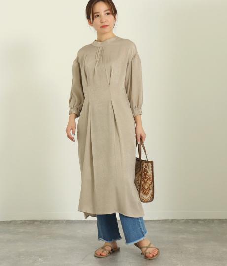 【低身長向けサイズ】2WAYハイネックサテンワンピース(ワンピース・ドレス/ミディアムワンピ) | AULI