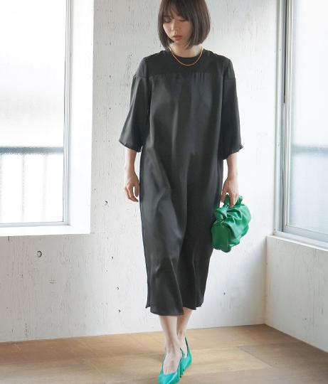 【低身長向けサイズ】袖フレアサテン切替ワンピース(ワンピース・ドレス/ミディアムワンピ) | AULI
