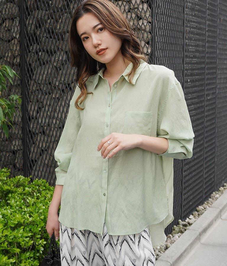 シアーバイカラーシャツ(トップス/シャツ・ブラウス) | Alluge