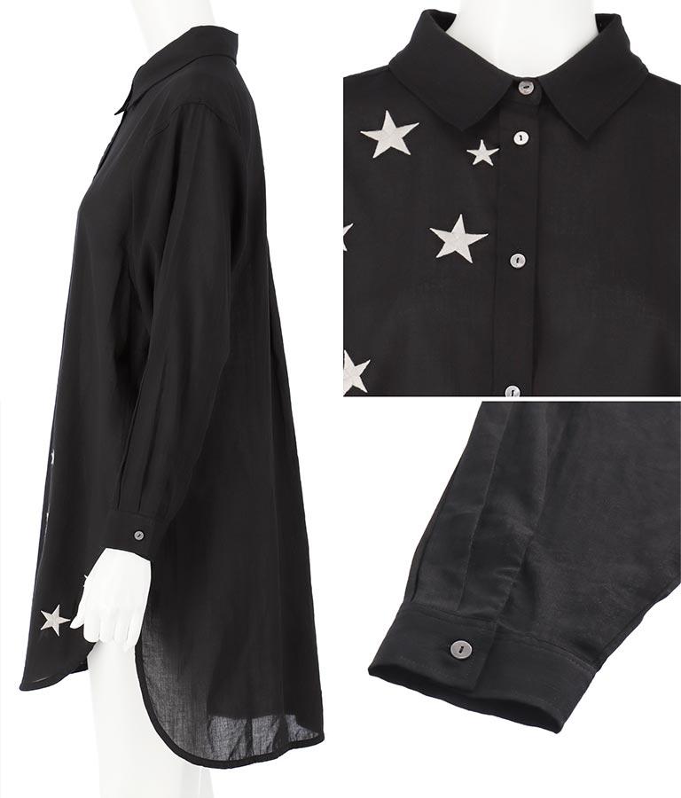 星刺繍シャツチュニック(トップス/シャツ・ブラウス)   Alluge