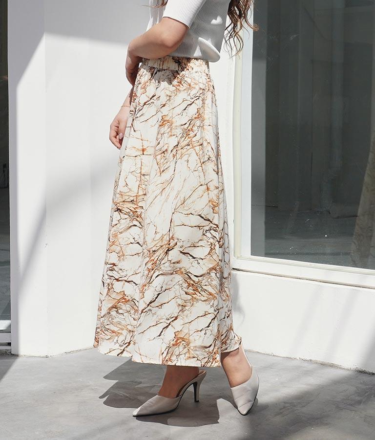 大理石ロングスカート