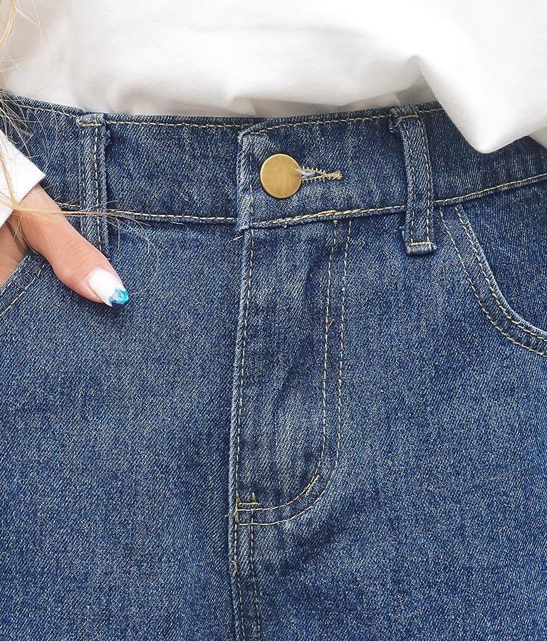 裾フリンジデニムショートパンツ(ボトムス・パンツ /クラッシュジーンズ・ショートパンツ・ハイウエストデニムパンツ)   anap mimpi