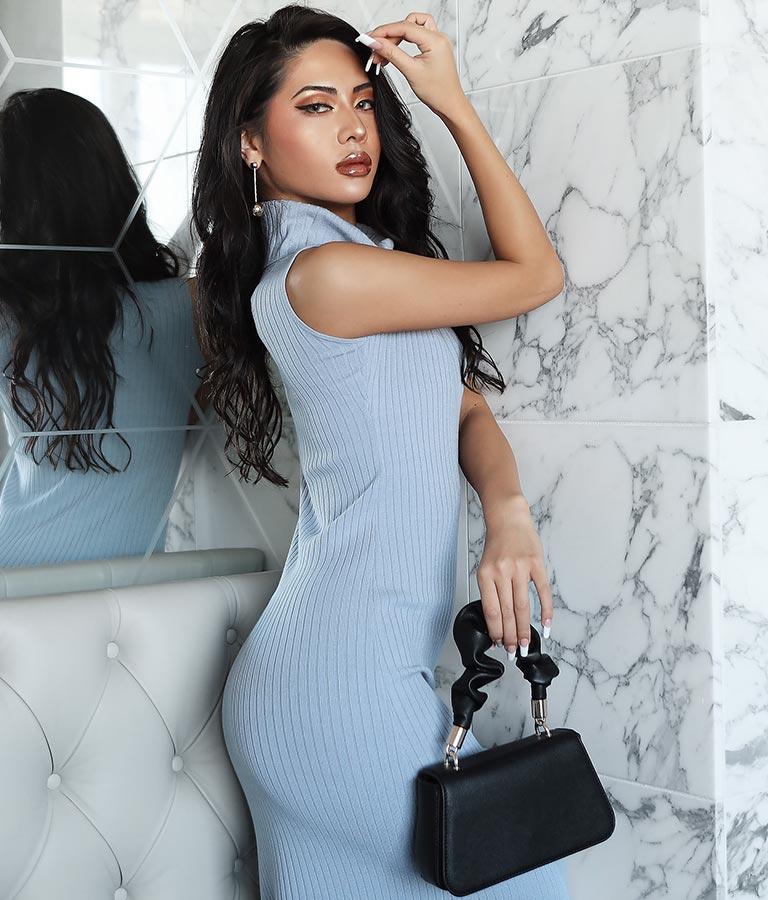 ワイドリブハイネックノースリーブロングワンピース(ワンピース・ドレス/ロングワンピ・マキシ丈ワンピース) | anap Latina