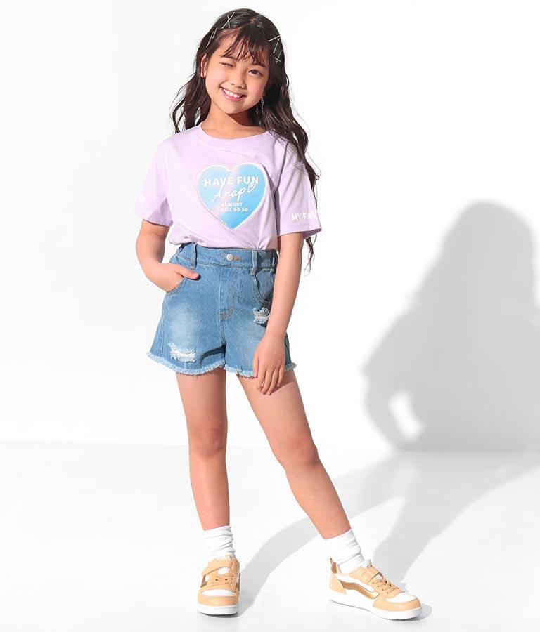 クリアハートワッペントップス(トップス/Tシャツ) | ANAP KIDS