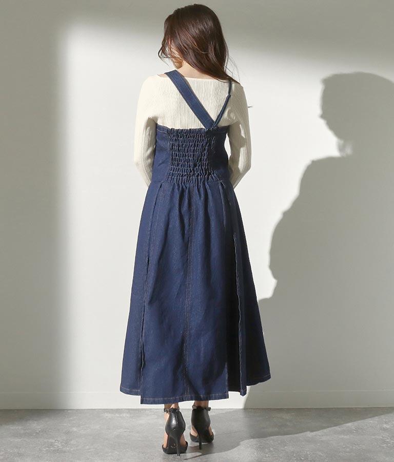 タックデザインデニムジャンパースカート(ワンピース・ドレス/ロングワンピ) | Alluge