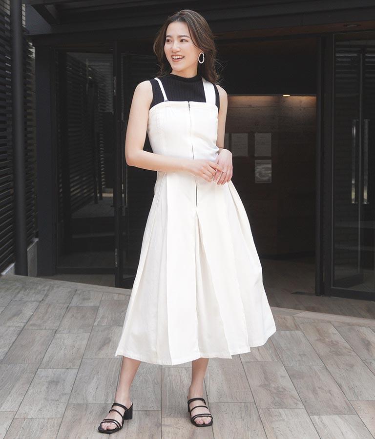 カツラギタックデザインジャンパースカート(ワンピース・ドレス/ロングワンピ) | Alluge
