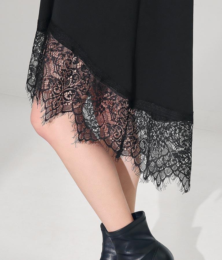 ヒゲレース切替デザインワンピース(ワンピース・ドレス/ミディアムワンピ・ミニワンピ) | Settimissimo