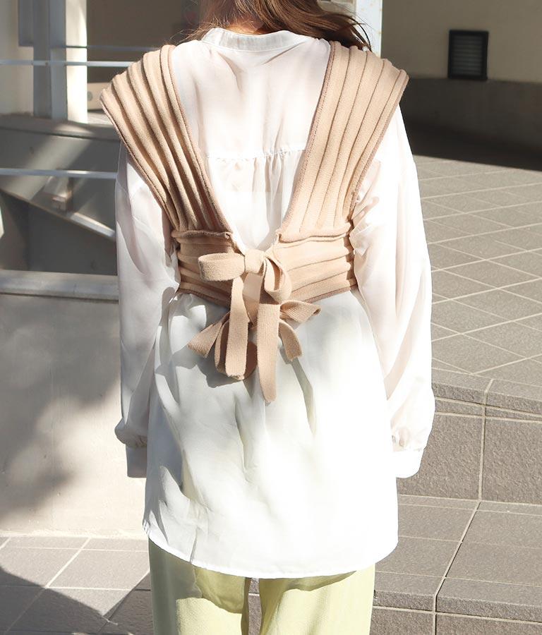 丸リブ編み配色ニットビスチェ | CHILLE