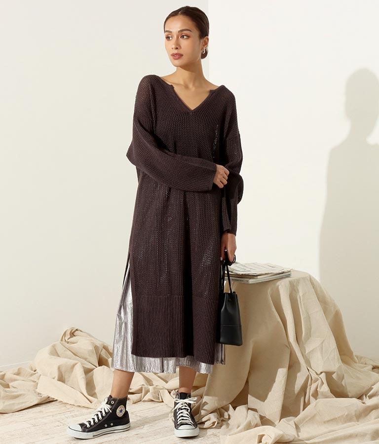 メッシュ編みロングワンピース(ワンピース・ドレス/ロングワンピ) | Alluge