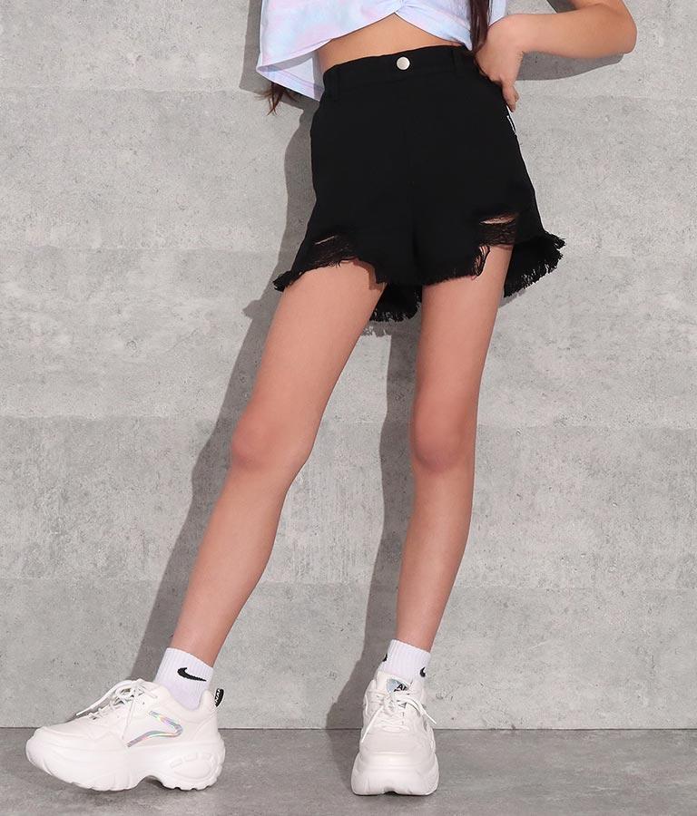裾クラッシュモノトーンツイルショートパンツ(ボトムス・パンツ /クラッシュデニム  ・ショートパンツ) | ANAP GiRL