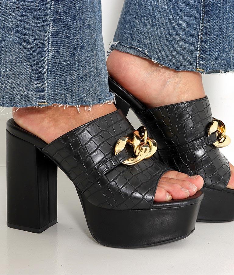 フェイククロコチェーンディティールサンダル(シューズ・靴/サンダル) | anap Latina