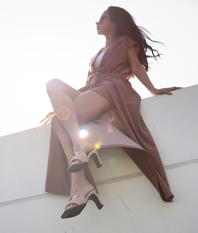 スクエアトゥキルティングフェイクレザーミュール(シューズ・靴/サンダル) | anap Latina