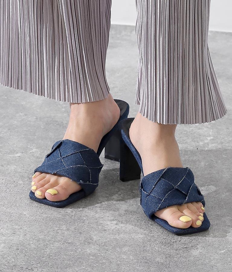 スクエアトゥキルティングデニムミュール(シューズ・靴/サンダル)   anap Latina