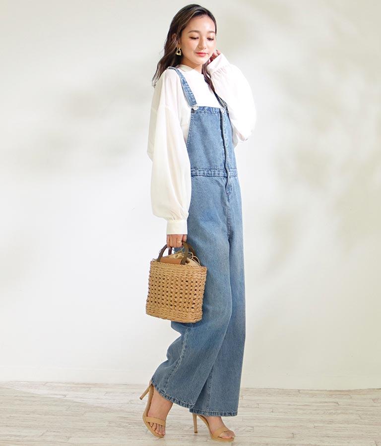 ボタンデザインデニムオールインワン(ワンピース・ドレス/サロペット/オールインワン) | CHILLE