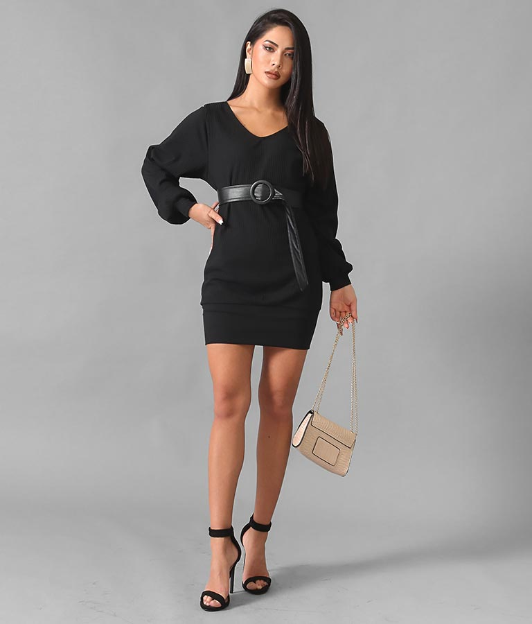 ベルト付きVネックミニワンピース(ワンピース・ドレス/ミニワンピ) | anap Latina